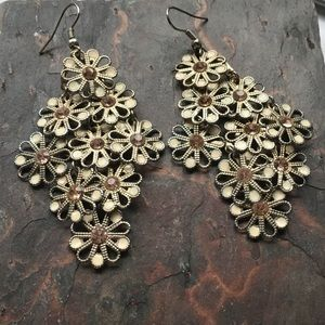 """Jewelry - Earrings, Lots of Dangle, Topaz and Ivory, 3"""" long"""